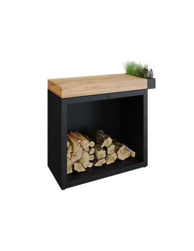 OFYR Butcher Block Storage 90 Black Bois de teck